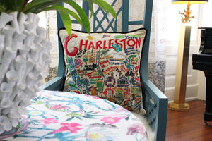 Charleston Hand-Embroidered Pillow - catstudio