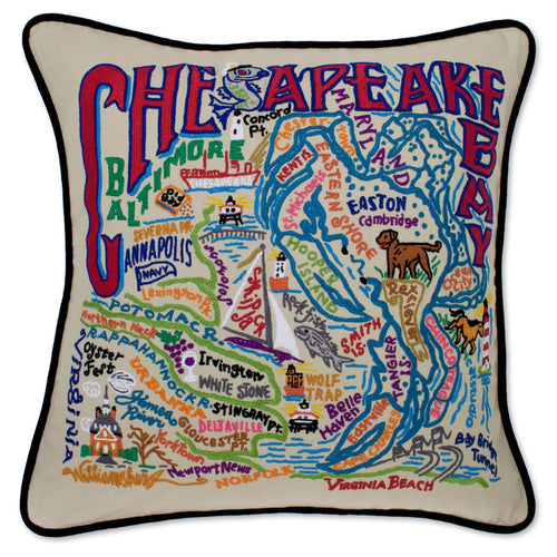 Chesapeake Bay Hand-Embroidered Pillow - catstudio