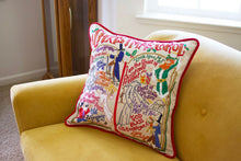 Load image into Gallery viewer, Christmas Carol Hand-Embroidered Pillow
