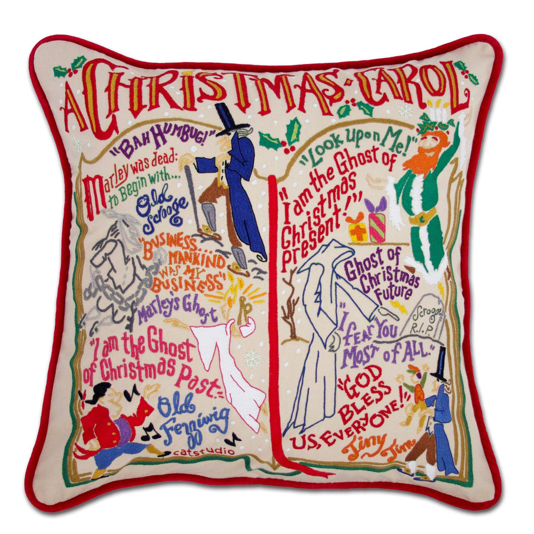 Christmas Carol Hand-Embroidered Pillow