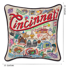 Load image into Gallery viewer, Cincinnati Hand-Embroidered Pillow - catstudio