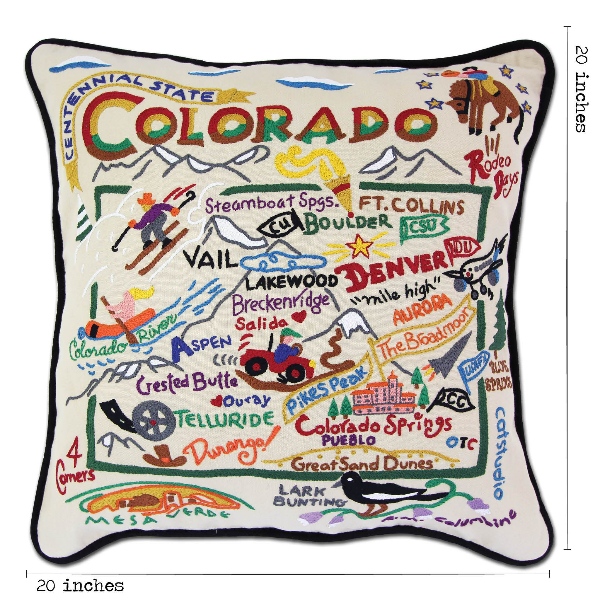 Colorado Hand Embroidered Pillow State Collection By Catstudio Catstudio