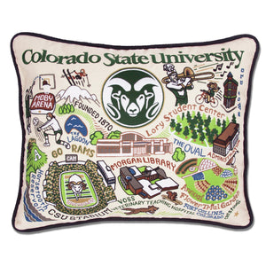 Colorado State University Collegiate Embroidered Pillow - catstudio