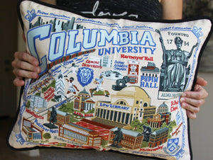 Columbia University Collegiate Embroidered Pillow - catstudio