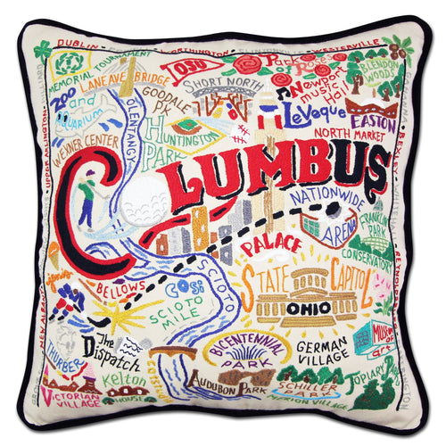 Columbus Hand-Embroidered Pillow - catstudio