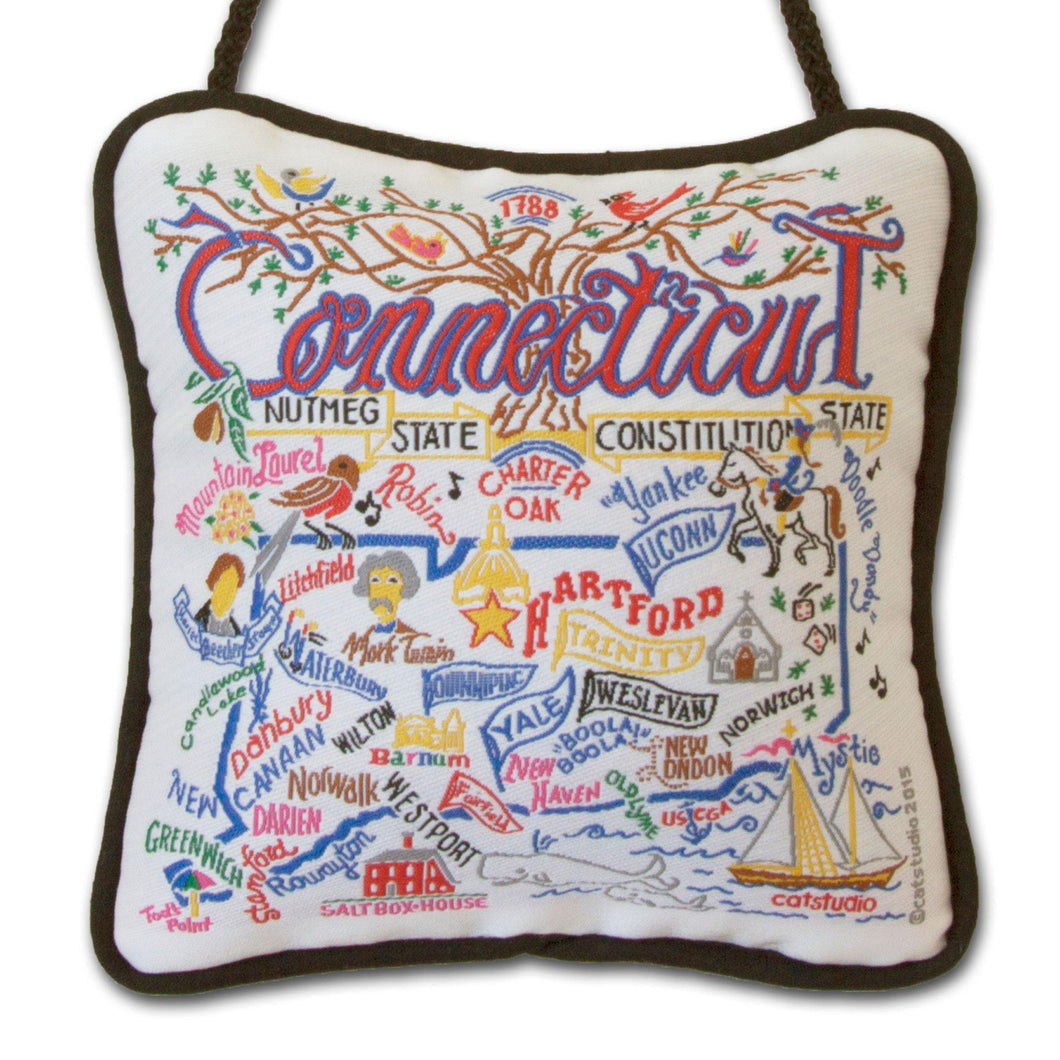 Connecticut Mini Pillow Ornament - catstudio