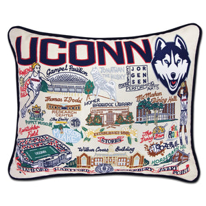 Connecticut, University of Collegiate Embroidered Pillow - catstudio