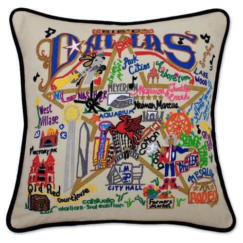Dallas Hand-Embroidered Pillow - catstudio