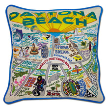 Load image into Gallery viewer, Daytona Beach Hand-Embroidered Pillow - catstudio