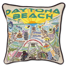 Load image into Gallery viewer, Daytona Beach Hand-Embroidered Pillow Pillow catstudio Black