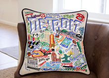 Load image into Gallery viewer, Detroit Hand-Embroidered Pillow - catstudio