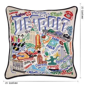 Detroit Hand-Embroidered Pillow - catstudio