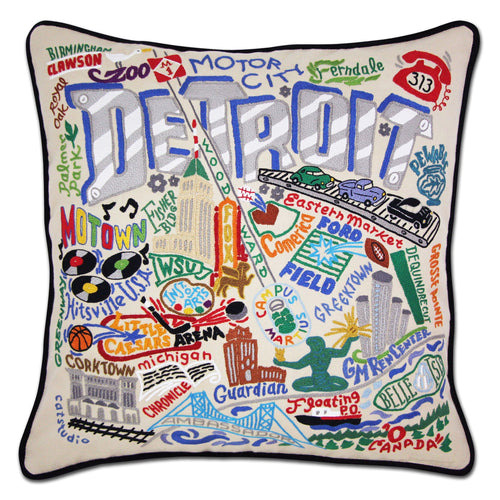 Detroit Hand-Embroidered Pillow - Coming Soon! - catstudio