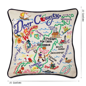 Door County Hand-Embroidered Pillow Pillow catstudio