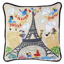 Load image into Gallery viewer, Eiffel Tower Hand-Embroidered Pillow - catstudio