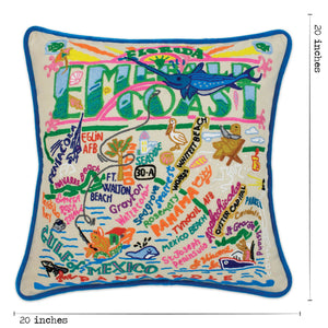 Emerald Coast Hand-Embroidered Pillow - catstudio