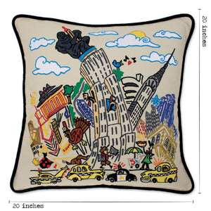 Empire State Hand-Embroidered Pillow - catstudio