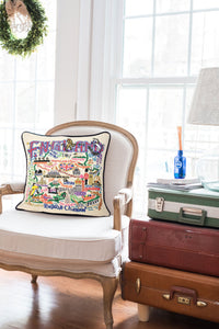 England Hand-Embroidered Pillow - catstudio