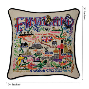 England XL Hand-Embroidered Pillow - catstudio