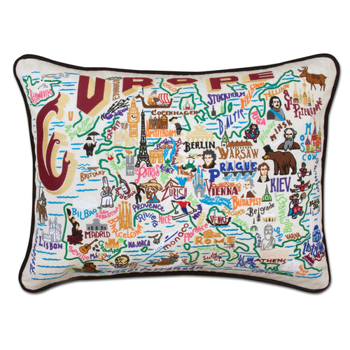 Europe Embroidered Pillow - catstudio