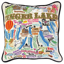 Load image into Gallery viewer, Finger Lakes Hand-Embroidered Pillow - catstudio