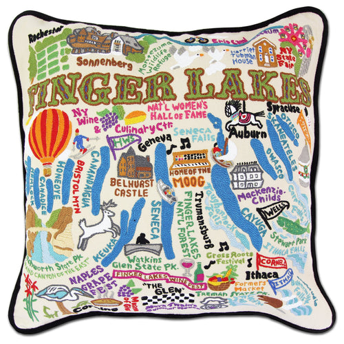 Finger Lakes Hand-Embroidered Pillow - catstudio