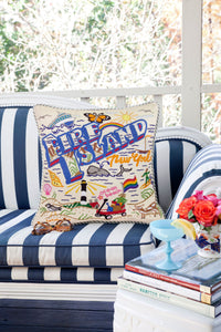 Fire Island Hand-Embroidered Pillow - catstudio