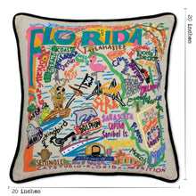 Load image into Gallery viewer, Florida Hand-Embroidered Pillow - Black Piping - catstudio