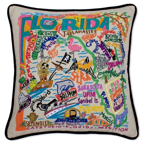 Florida Hand-Embroidered Pillow - Black Piping - catstudio