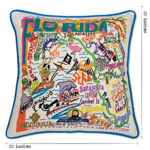 Florida Hand-Embroidered Pillow - catstudio