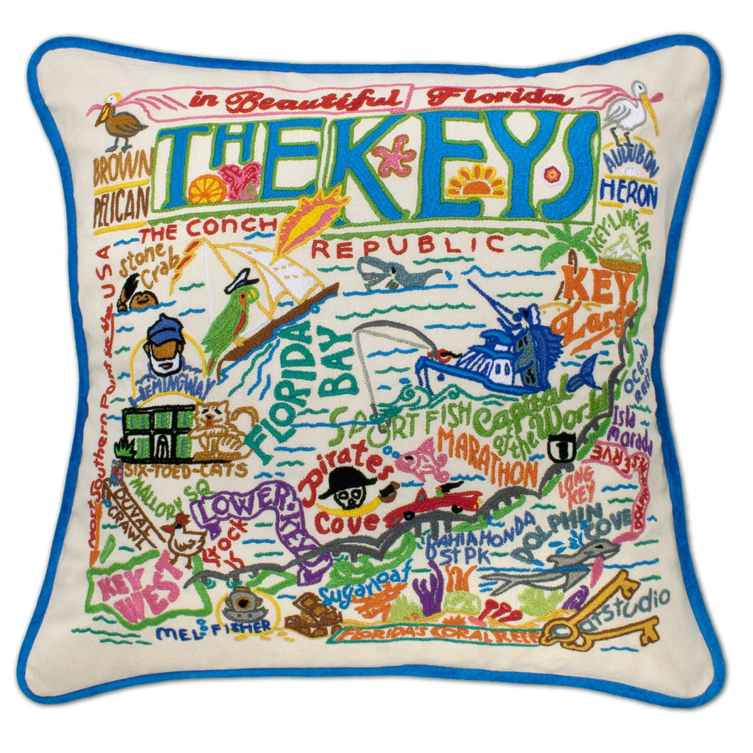 Florida Keys Hand-Embroidered Pillow - catstudio