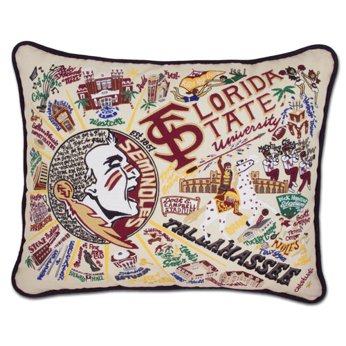 Florida State University Collegiate XL Hand-Embroidered Pillow - catstudio