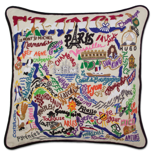 France Hand-Embroidered Pillow - catstudio