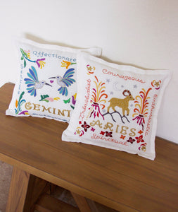 Gemini Astrology Hand-Embroidered Pillow - catstudio
