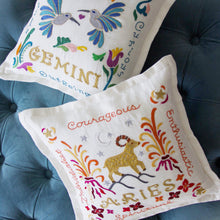 Load image into Gallery viewer, Gemini Astrology Hand-Embroidered Pillow - catstudio