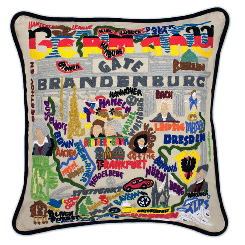 Germany Hand-Embroidered Pillow - catstudio
