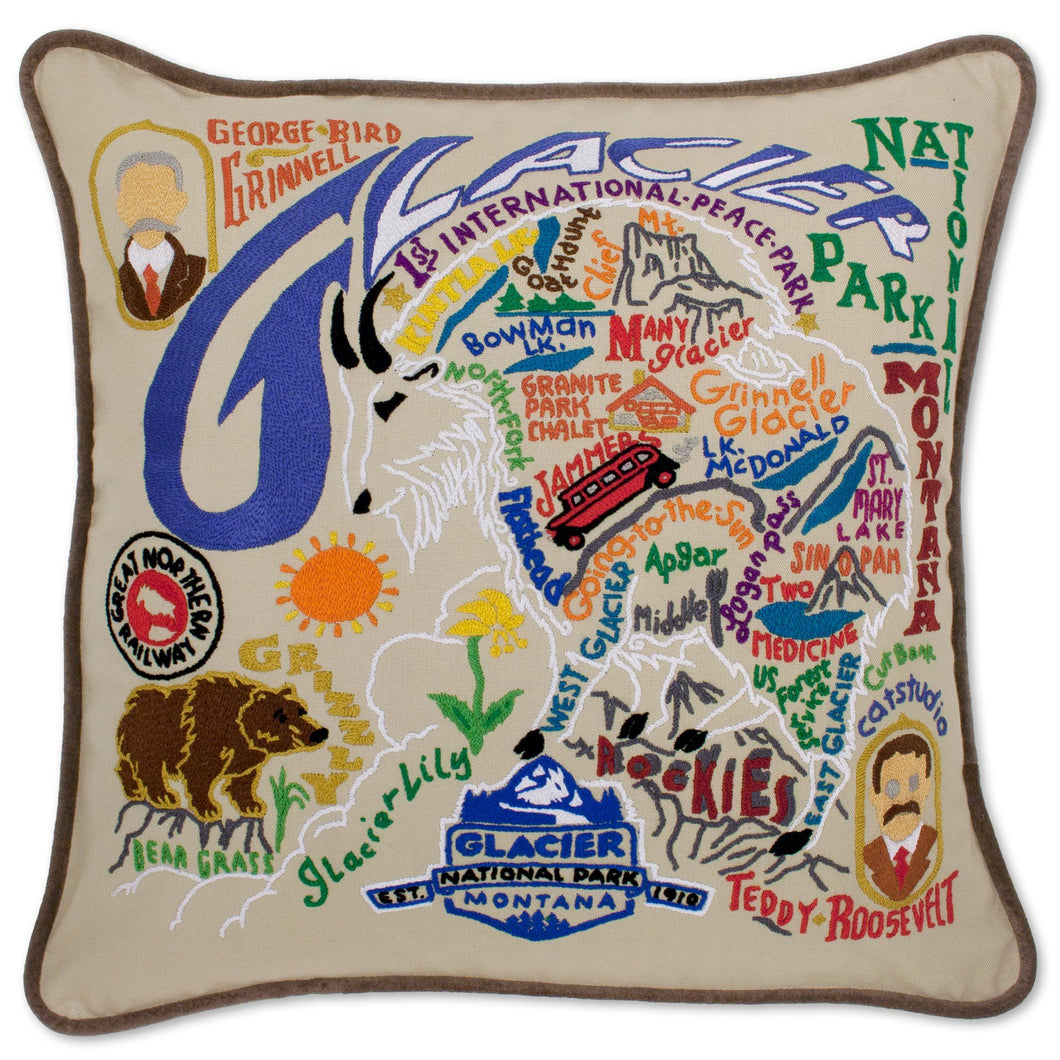 Glacier Park Hand-Embroidered Pillow - catstudio
