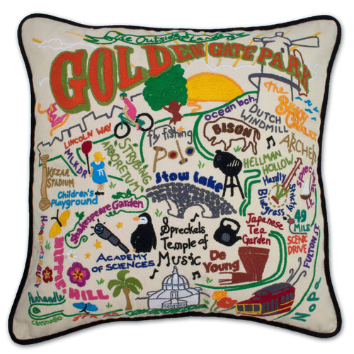 Golden Gate Park Hand-Embroidered Pillow - catstudio