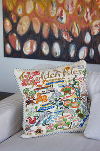 Golden Isles Hand-Embroidered Pillow - catstudio