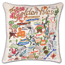 Load image into Gallery viewer, Golden Isles Hand-Embroidered Pillow - catstudio
