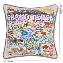 Load image into Gallery viewer, Grand Teton Hand-Embroidered Pillow - catstudio