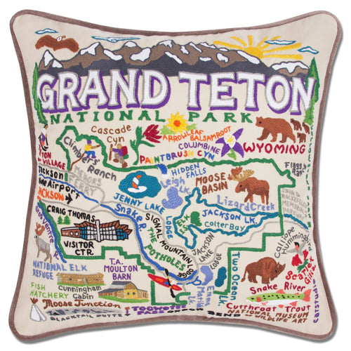 Grand Teton Hand-Embroidered Pillow - catstudio