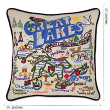 Load image into Gallery viewer, Great Lakes Hand-Embroidered Pillow - catstudio