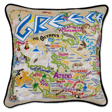 Load image into Gallery viewer, Greece Hand-Embroidered Pillow - catstudio