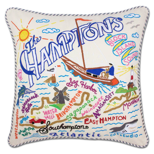 Hamptons Hand-Embroidered Pillow - catstudio