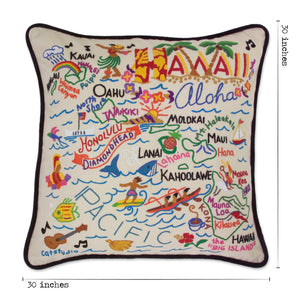 Hawaii XL Hand-Embroidered Pillow - catstudio