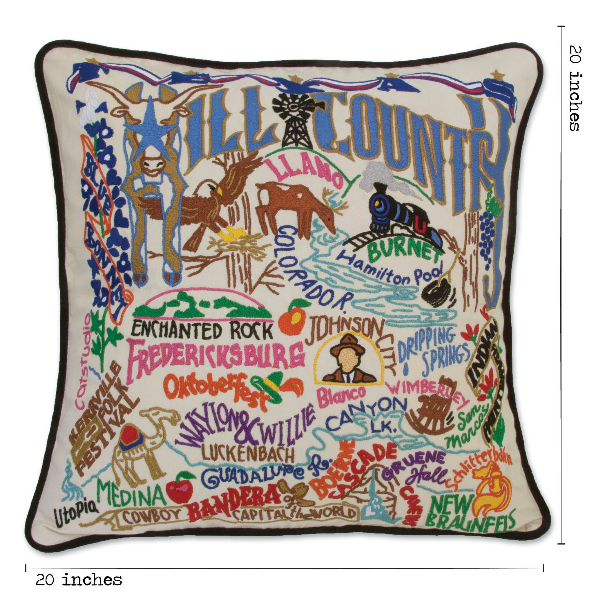 Hill Country Hand Embroidered Pillow Texas Collection By Catstudio Catstudio