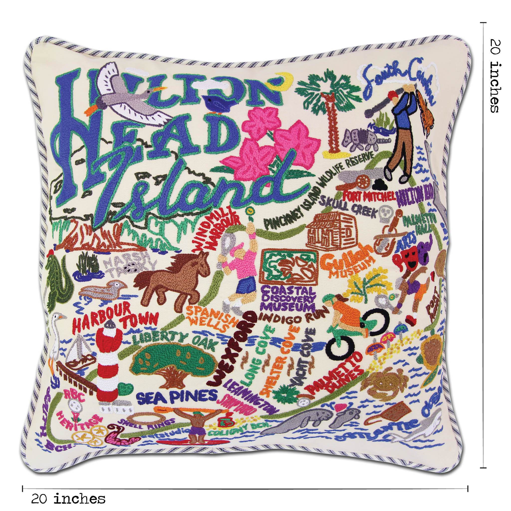 Hilton Head Hand Embroidered Pillow South Carolina Collection By Catstudio Catstudio