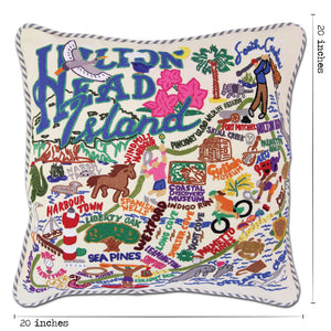 Hilton Head Hand-Embroidered Pillow - catstudio