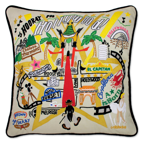 Hollywood Hand-Embroidered Pillow - catstudio